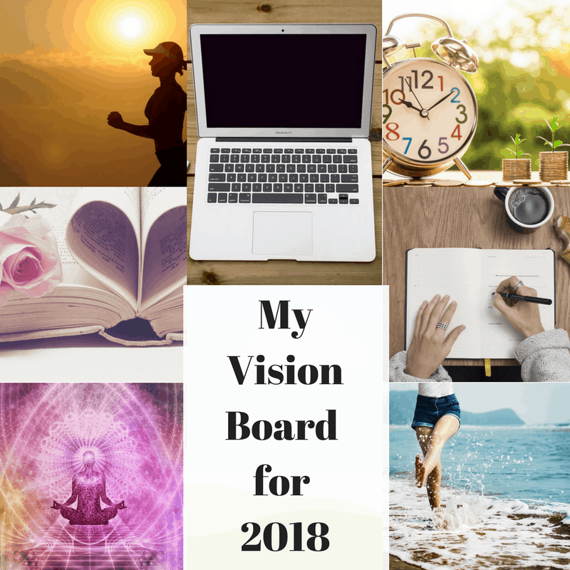 Have you considered creating a vision board for the year ahead? They are inspiring when you think about your goals for a new year. Here is an example of my vision board and it may inspire you as well. #VisionBoard #Goals #Resolutions #Writing #Blogging #2018
