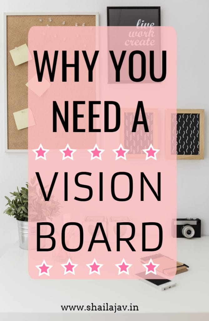 A Pink Vision Board with an office backdrop.